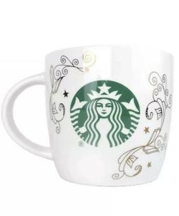Starbucks 14oz Ounce Coffee Tea Ceramic Mug Cup White Green