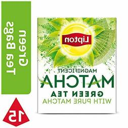 3 PACK! Lipton Magnificent Matcha Green Tea Bags Mint 15 ct