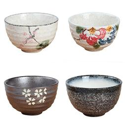MagiDeal 4 Kinds of Pattern Ceramic Bowl Matcha Green Tea Po