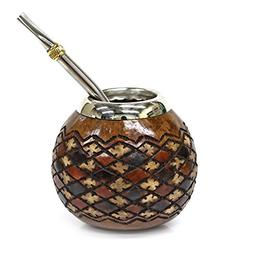 Tealyra - Hand Made Carved - Yerba Mate Gourd Khombus Style