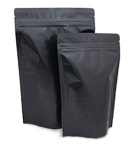 Assorted Sizes Matte Black Stand Up Airtight Zipper Pouches