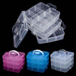 Blue Plastic Screws Jewelry Beads Storage Box Crafts Organiz