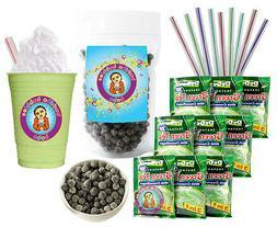 DeDe Instant Boba Tea Kit 9 Drink Packets, Straws & Boba Gre