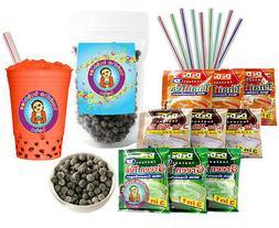 DeDe Instant Boba Tea Kit 9 Drink Packets, Straws & Boba Tha