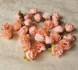 1.2inch Dia Peach Mini Silk Rose Flower Heads for DIY Brooch