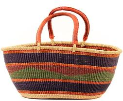 Fair Trade Ghana Bolga African Gambibgo Two Handle Basket 21