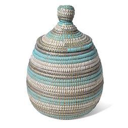 African Fair Trade Hand Woven Lidded Gourd Basket, Aqua/Silv