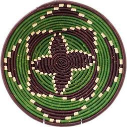 "Fair Trade Uganda African Bukedo & Raffia Bowl 11.5-12.5"" Ac"