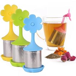 House Again 4-pack Extra Fine Mesh Tea Infuser with Drip Tra