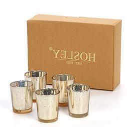Hosley's Gold Speckled Metallic Tea light Holder. Set of 12