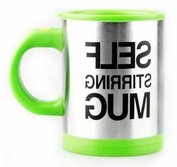 Green Self Stirring Mug Coffee Cup Tea Auto Mixer Drink Insu