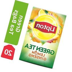 Lipton Green Tea Bags, Lemon Ginseng, 20 ct Pack of 6