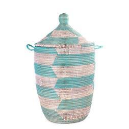 Hand-Woven African Basket Hamper - Aqua - Medium