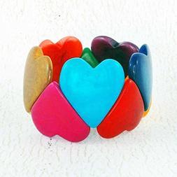 Multicolor Heart Bracelet, Stretch Bracelet made of Tagua Nu