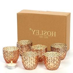 Hosley Set of 6 - Antique Gold Speckled Metallic Glass LED V