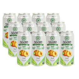 Steaz Iced Tea Can Peach Green Gluten Free 16-ounces