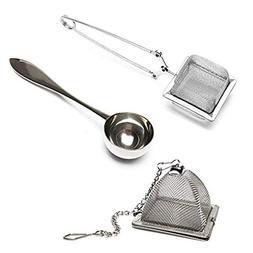 Set of 2 Infusers & 1 Tea Spoon - 100% Stainless Steel, HIGH
