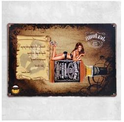 Jack Daniels Old No 7 Sex Girl Tin Sign, Vintage Style Wall