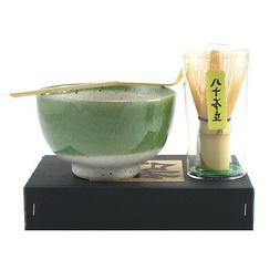 Japanese Matcha Bowl Green Oribe Spoon Whisk Tea Ceremony Gi