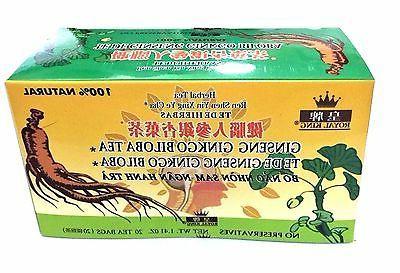2 Boxes Royal King Ginseng Ginkgo Biloba Tea 40 Tea bags tot