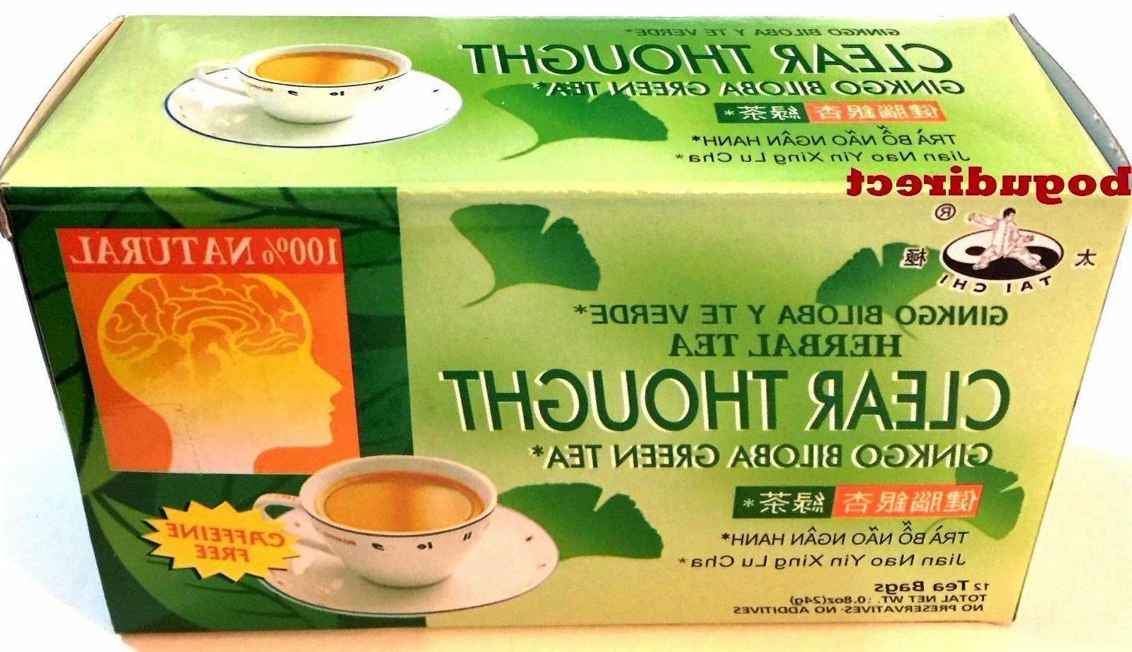 3 Boxes Tai Chi 100% Natural Herbal Ginkgo Biloba Green Tea,