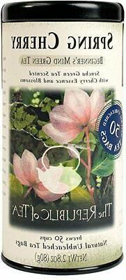The Republic Of Tea Spring Cherry Green Tea, 50 Tea Bag Tin