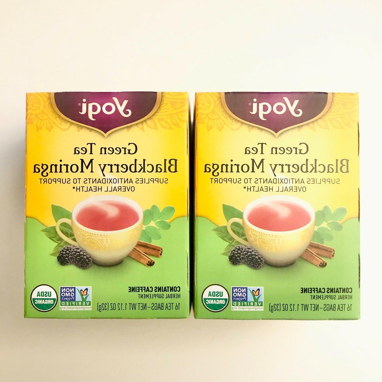 Yogi Tea - Organic Green Tea Blackberry Moringa - 16 Tea Bag