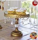 Wedding Cake Dessert Stand Antique Gold Crystal Beaded Mirro