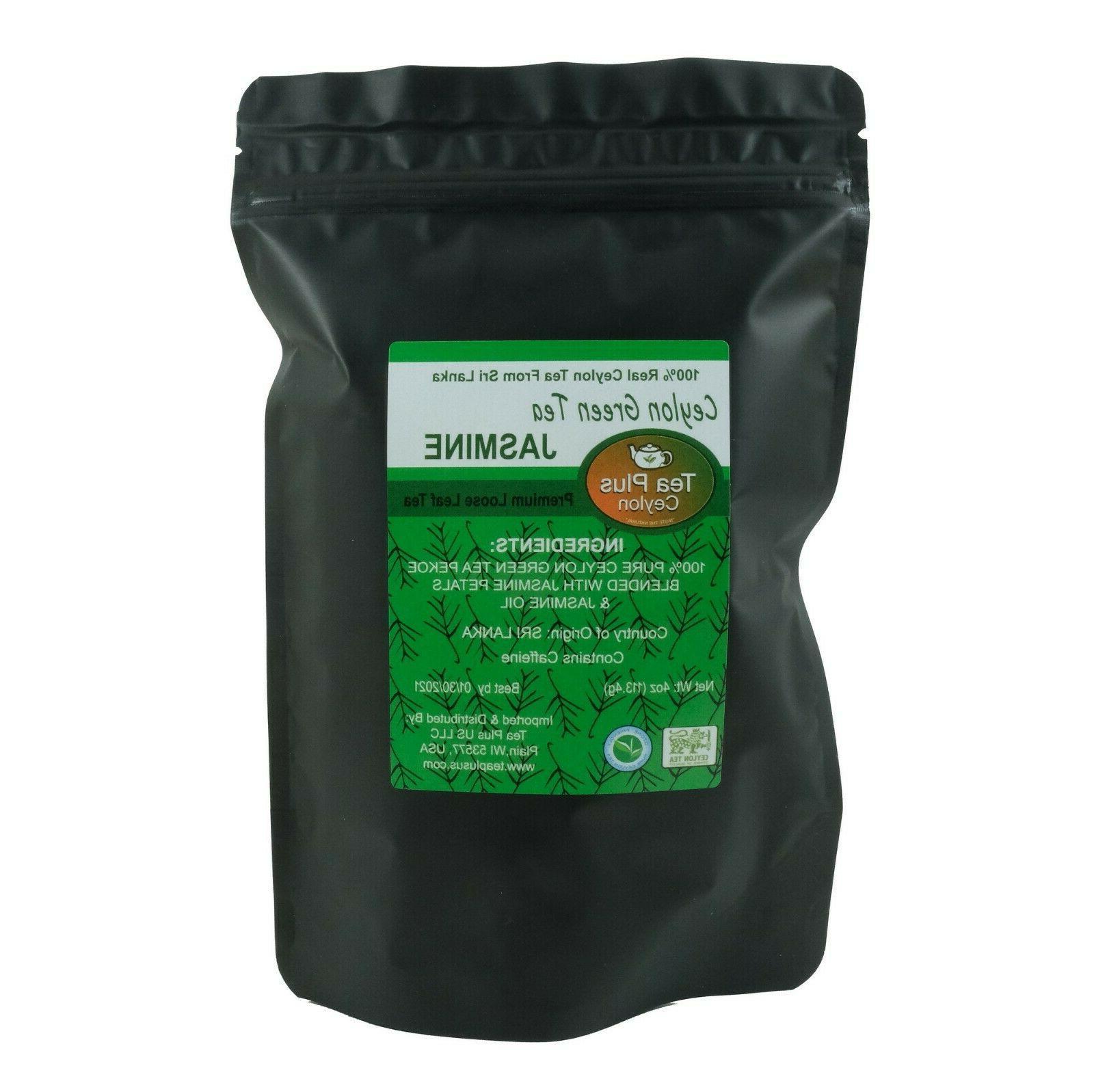Ceylon Green Tea Jasmine Premium Loose Tea Pouch 4 oz