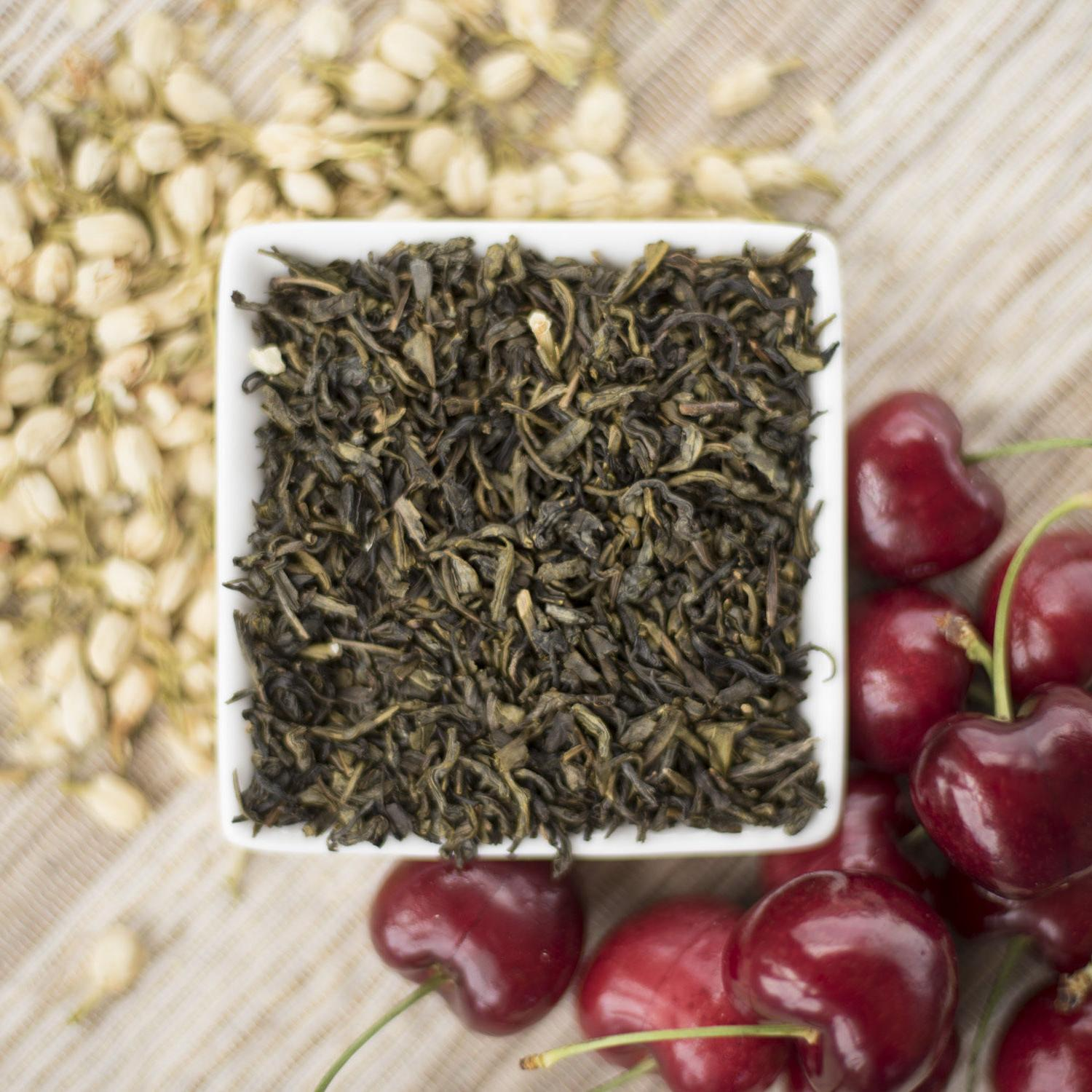 Cherry Jasmine Green Tea Organic available in loose leaf, te