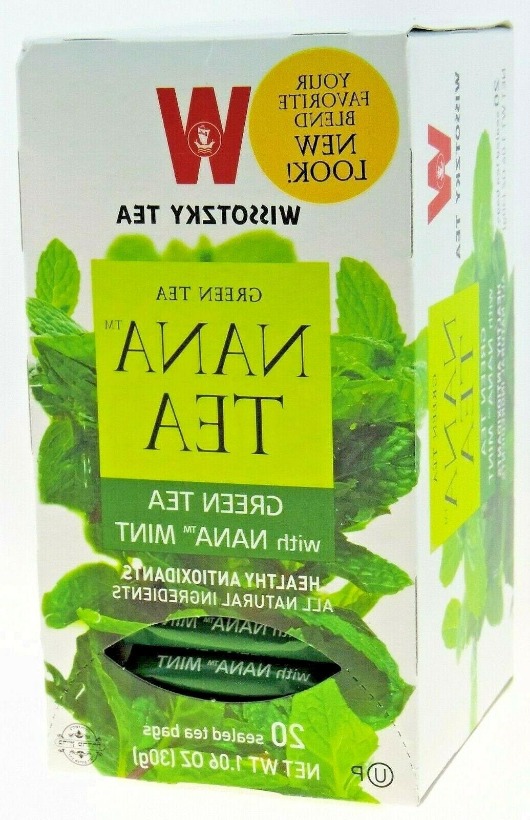Wissotzky Tea Green Tea with Spearmint leaves  Box Of 20 Bag