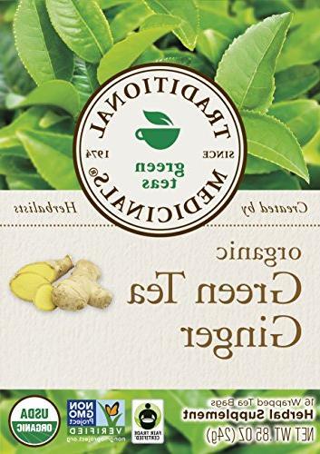Traditional Medicinals Organic Green Tea Ginger Tea Bags 16