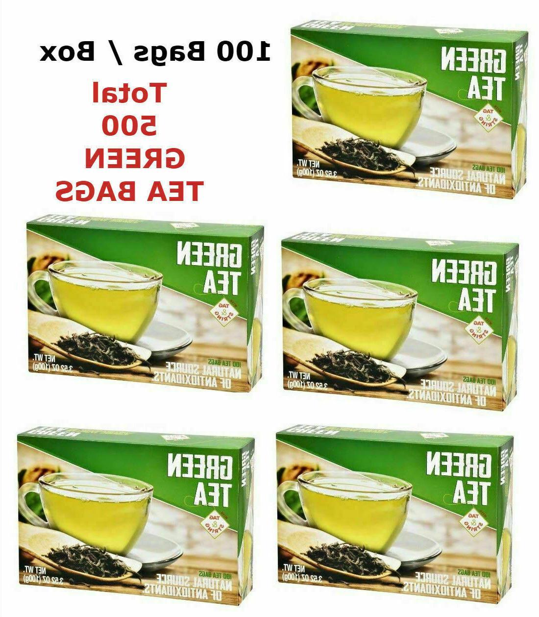 Lot 5 Boxes Green Tea Natural Source Of Antioxidants Bags 10