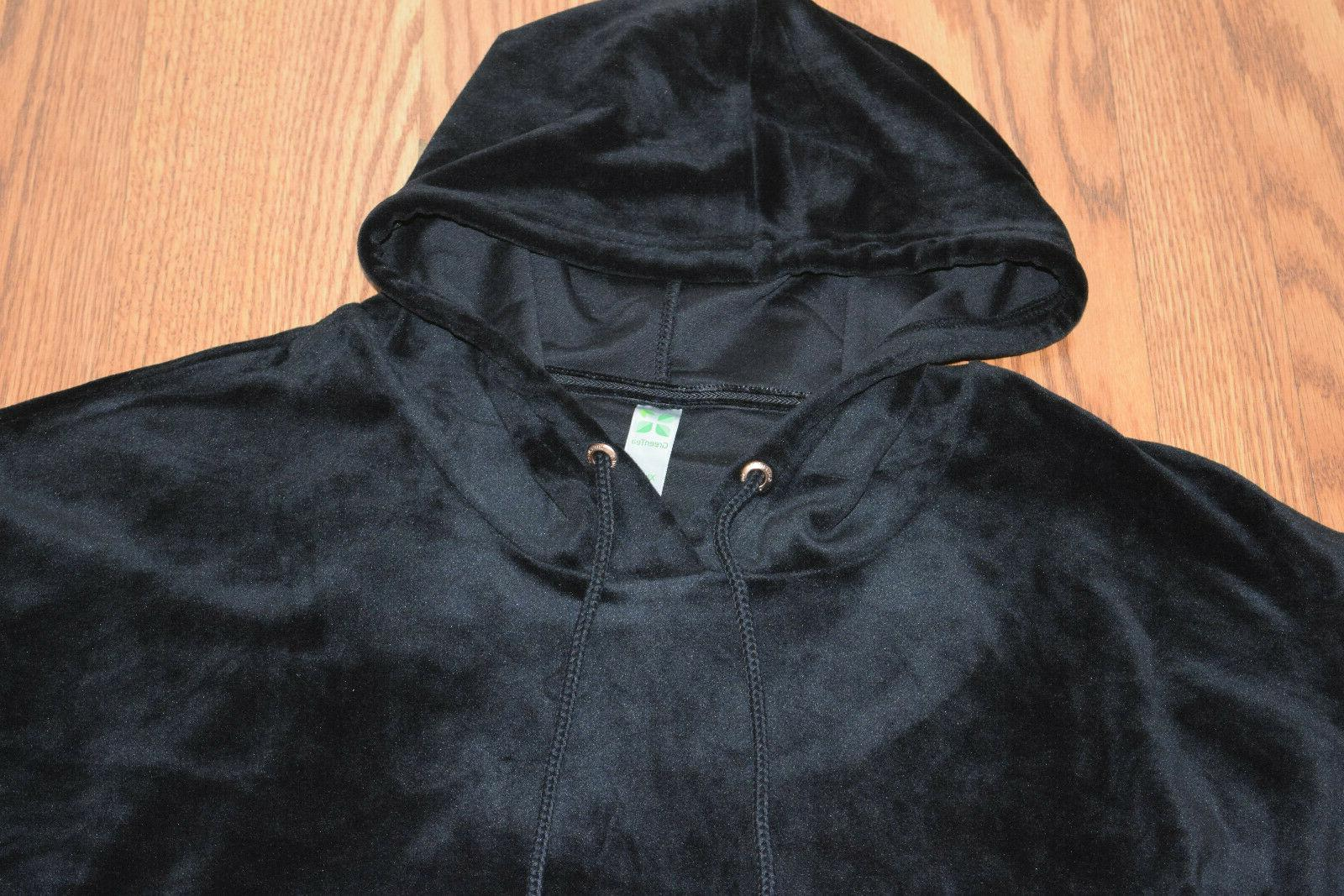 NWT Velour Black Sleeve Hoodie Top 2XL