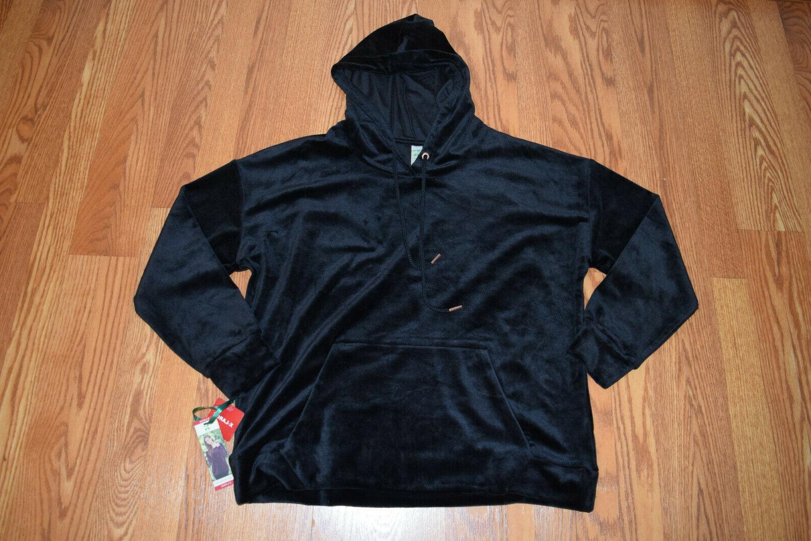 nwt womens velour black long sleeve hoodie