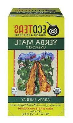 Eco Teas Organic Yerba Mate Unsmoked Green Energy, 24-Tea Ba