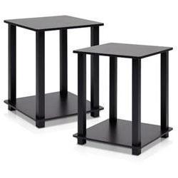 Simplistic 2 Piece End Table, Espresso / Black