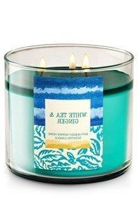 Bath & Body Works WHITE TEA & GINGER 3-Wick Candle 14.5 OZ,