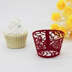 HP95 New! Leaves Lace Laser Cut Cupcake Wrapper Liner Baking