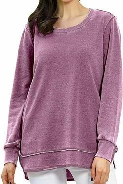 Green Tea Long Sleeve Comfy Mineral Wash Sweatshirts in Zinc