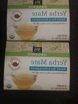 Lot 2-365 EVERYDAY VALUE ORGANIC YERBA MATE GREEN TEA & PEPP