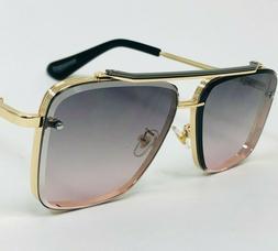 Men Designer Sunglasses Classic Green Tea Lens Gold Luxury 2