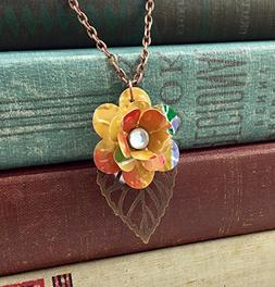 Mini Rose and Copper Leaf Necklace. Recycled Soda Can Art. E