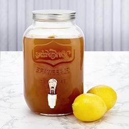 KooK Mini Yorkshire Drink Dispenser, Mason Glass Jar, 1 Gall
