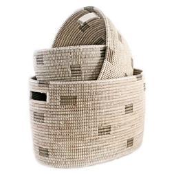 Nesting Handmade Woven Storage Basket Set - White Block - Fa