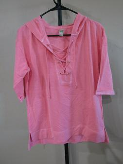 NWT Green Tea Womens S/S Lace Up Hoodie-Color-Coral-Size-XL