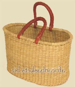 Bolga Baskets International Medium Oval with 2 Leather Wrapp