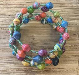 Paper Bead Mirembe Wrap Bracelet - Multicolored - Fair Trade