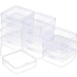 SATINIOR 12 Pack Small Rectangle Clear Plastic Containers Bo