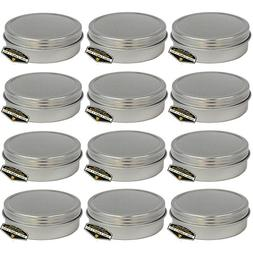 12 Pack of Mighty Gadget  Screw Top Round Steel Tin Cans